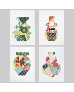 Symmetrische ontwerpen versierd met handgeschept papier