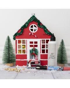 Gedecoreerd houten huis voor de kerstkabouter