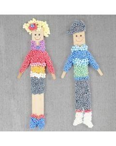 Poppen met een magneet gemaakt van ijsstokjes en Foam Clay