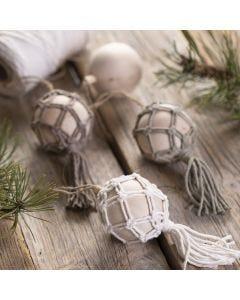 A macramé Christmas bauble