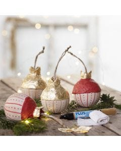 A wooden Christmas bauble with gold imitation metal leaf