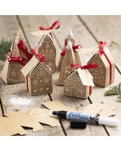 An Advent calendar from 24 small papier-mâché houses and trees