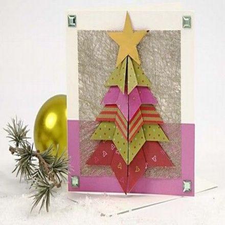 Kaart met een gevouwen kerstboom