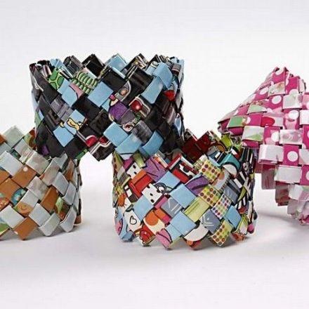 Gevlochten armband van pakpapier