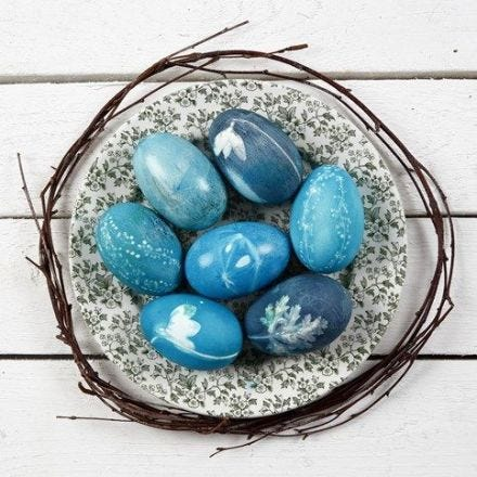 Natural Eggs with Plant Prints – dyed with Silk Royal Colour