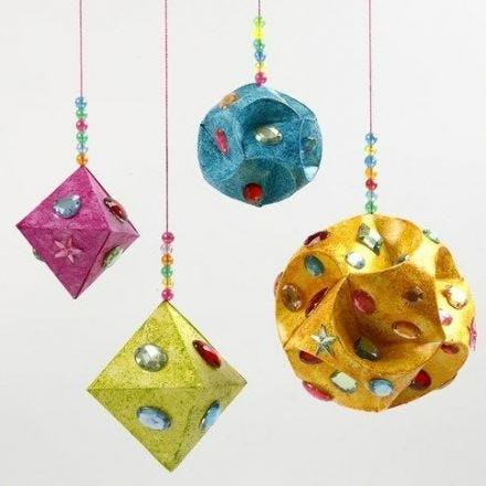 Rhinestones and Glitter Paint on Paper Prisms and Paper Baubles