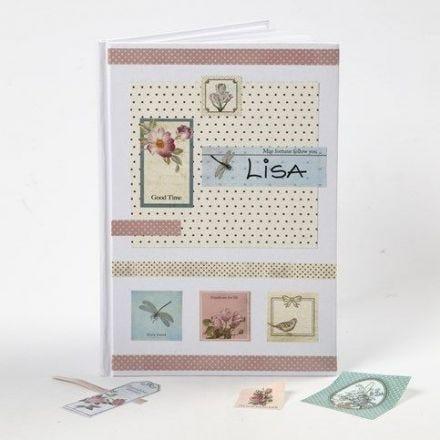Decoupage Stickers en Design Papier op een notitieboek