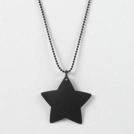 Zwarte balletjesketting met zwarte ster