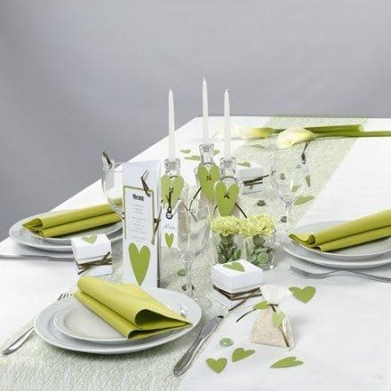Witte en lime green tafeldecoraties van Happy Moments