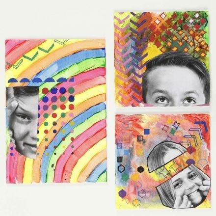 Mixed Media met foto en stencilpatroon