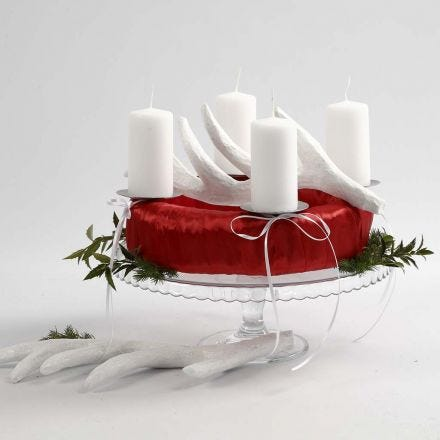 Adventkrans in rood en wit