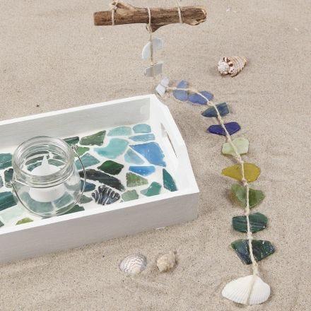 Dienblad met glas mozaïek