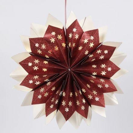 Ster gemaakt van voorgeknipte papieren zakken met glitter