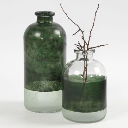 Apothekers flessen gedecoreerd met glasverf