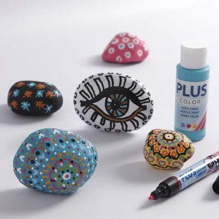 Artistieke Stenen met Plus Color acrylverf
