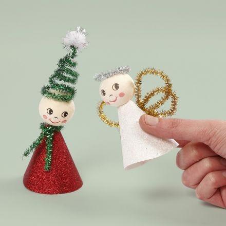 Engel en kerstkabouter van glitter design papier