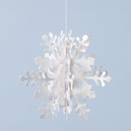 3D hangende sneeuwvlok van parelmoerpapier