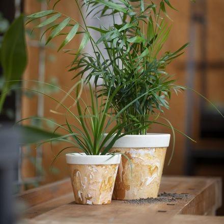 Gemarmerde bloempot van bamboevezels