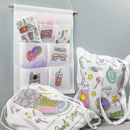 Voorbedrukt textiel gedecoreerd met textielstiften