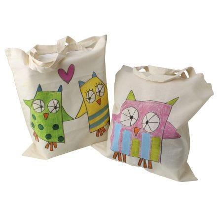 Lovely shopping bags decorated with pastel dye sticks