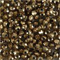 Facet kralen, afm 3x4 mm, gatgrootte 0,8 mm, metallic brons, 100 stuk/ 1 doos