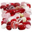 Glazen kralen, Lieveheersbeestjes, blaadjes, harten, afm 5-22 mm, gatgrootte 0,5-1,5 mm, diverse kleuren, 60 gr/ 1 doos