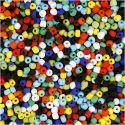 Rocailles, d: 4 mm, afm 6/0 , gatgrootte 0,9-1,2 mm, diverse kleuren, 500 gr/ 1 doos