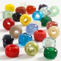 Glaskralen mix, d: 9 mm, gatgrootte 2,5-3 mm, diverse kleuren, 75 gr/ 1 doos