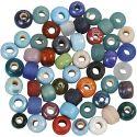 Glaskralen mix, d: 9 mm, gatgrootte 2,5-3 mm, diverse kleuren, 500 gr/ 1 doos