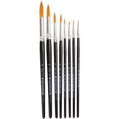 Gold Line penselen, rond, afm 0-22, B: 1,5-8 mm, 8 stuk/ 1 doos