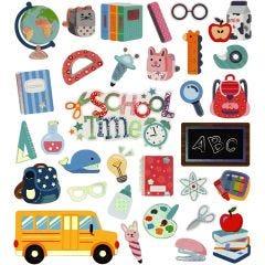 Stickers, terug naar school, 15x16,5 cm, 1 vel