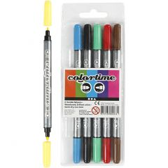 Colortime dubbelstift, lijndikte 2,3+3,6 mm, standaardkleuren, 6 stuk/ 1 doos