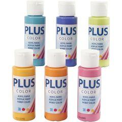 Plus Color acrylverf, kleurrijk, 6x60 ml/ 1 doos