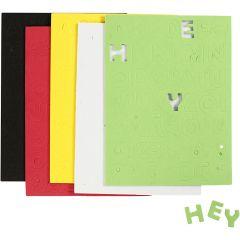 EVA foam Letters & Cijfers, afm 2-2,3 cm, dikte 2 mm, diverse kleuren, 5 vel/ 1 doos