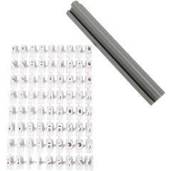 Stempelset van rubber, letters, cijfers, H: 6 mm, wit, 1 set