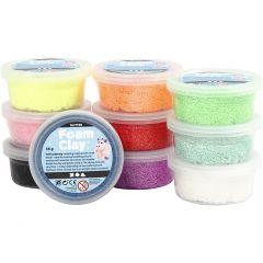 Foam Clay®, glitter, diverse kleuren, 10x35 gr/ 1 doos