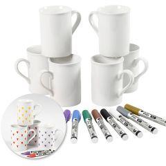 Kit - Decoreer mokken met porseleinstiften, 1 set