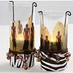 Cylinder glas met servetten decoupage