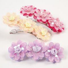 Haarspelden met organzabloemen en rozen van pailletten