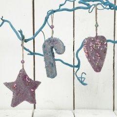 Hangende Kerstdecoraties met veel glitter