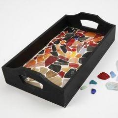 Houten dienblad met mozaiek