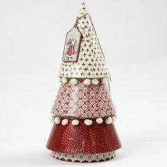 Een papier-maché kerstboom met decoupage