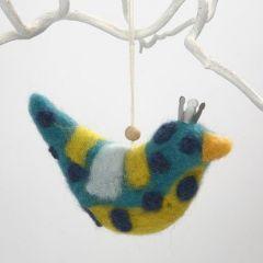 Vogel van stof gedecoreerd door naaldvilten
