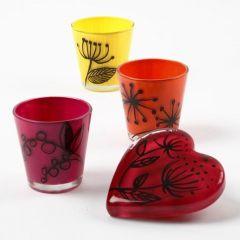 Glas gedecoreerd met glas keramiekverf