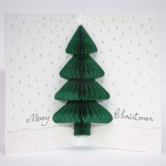 Een kerstkaart met kerstboom van concertina papier