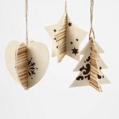 Hangende kerstdecoratie met houtfineer en print