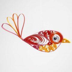 Een vogel gemaakt met de quilling techniek