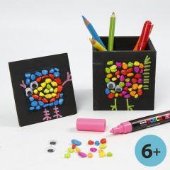 Zwart geverfd pennenbakje met mozaiek