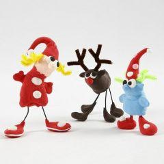 Kerstfiguren gemaakt van Silk Clay, wire en chenilledraad