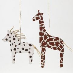 Paard en giraf gemaakt van dierenkarton